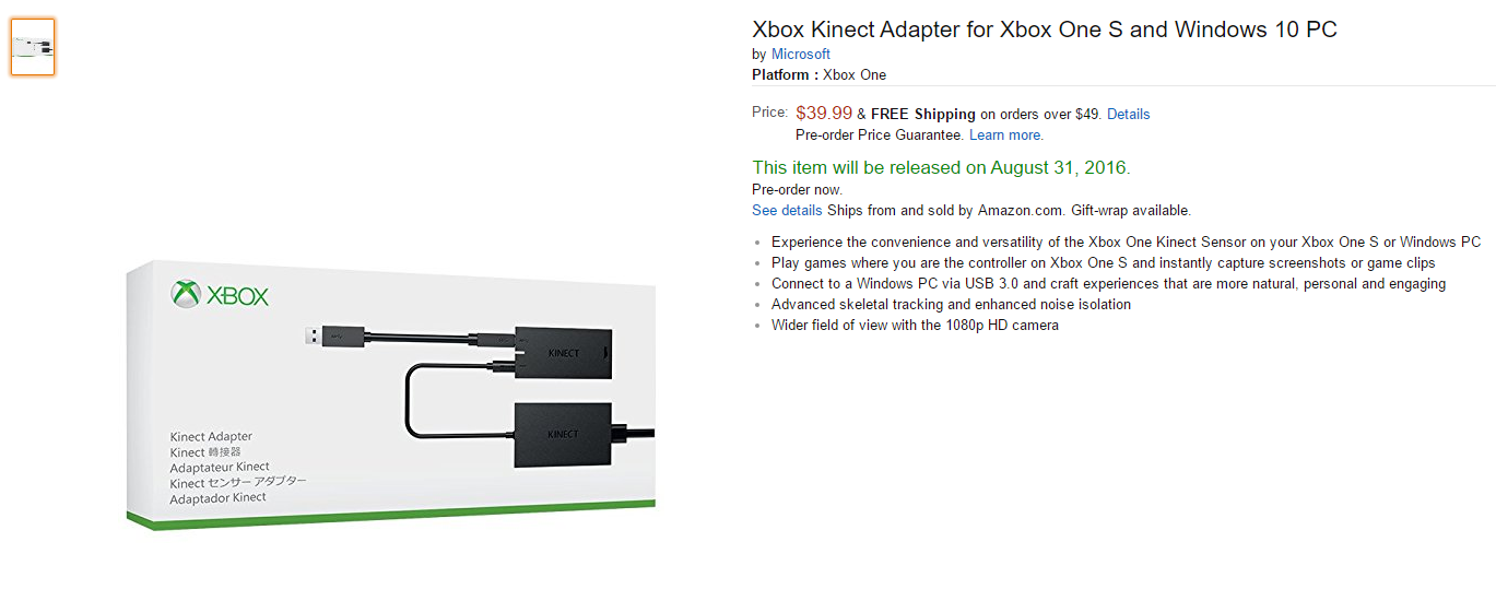 price of controversial kinect adapter for xbox one s. Black Bedroom Furniture Sets. Home Design Ideas